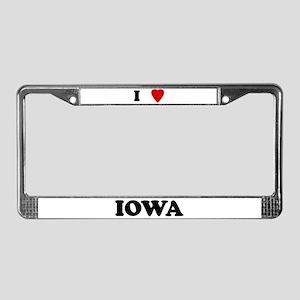 I Love Iowa License Plate Frame