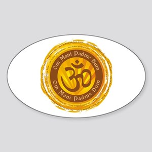 Tibetan Mantra Om Symbol Sticker (Oval)