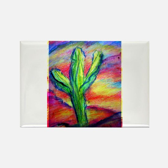 Cactus, Colorful, Rectangle Magnet