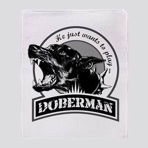 Doberman white Throw Blanket