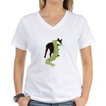 Green Dragon Puppy Women's V-Neck T-Shirt