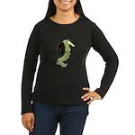 Green Dragon Puppy Women's Long Sleeve Dark T-Shir
