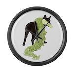 Green Dragon Puppy Large Wall Clock