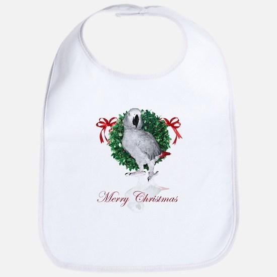 african grey christmas Bib
