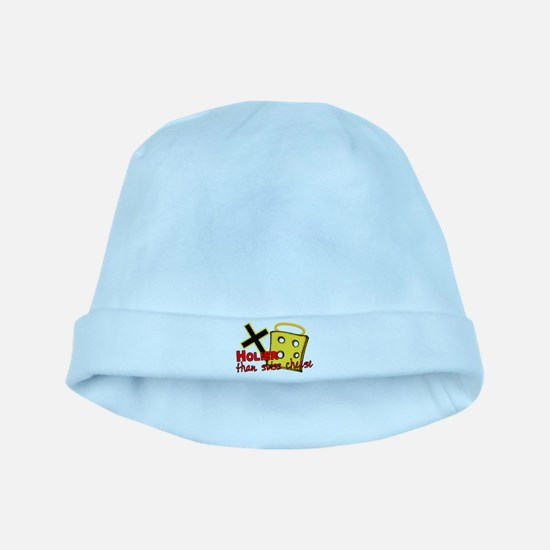 Holier Than Swiss Cheese baby hat