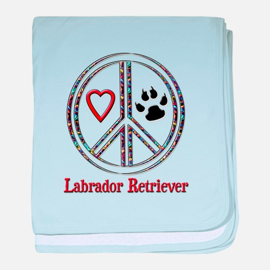 Peace Love Lab baby blanket