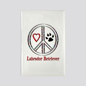 Peace Love Lab Rectangle Magnet