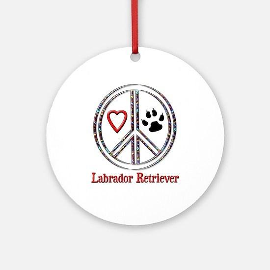 Peace Love Lab Ornament (Round)