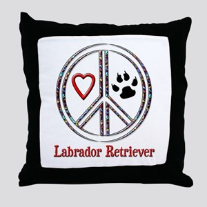 Peace Love Lab Throw Pillow