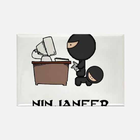 Funny Ninja Rectangle Magnet (10 pack)