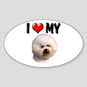 I Love My Bichon Frise Sticker (Oval)