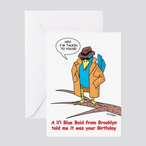 Da Boithday Blue Boid Greeting Card