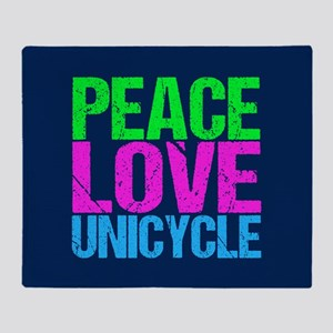 Peace Love Unicycle Throw Blanket