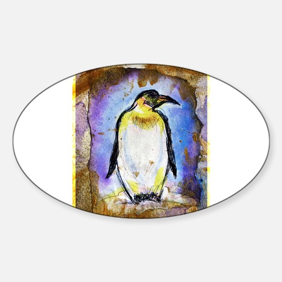 Penguin, colorful, Penguin, Sticker (Oval)