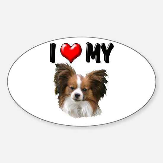 I Love My Papillon Sticker (Oval)