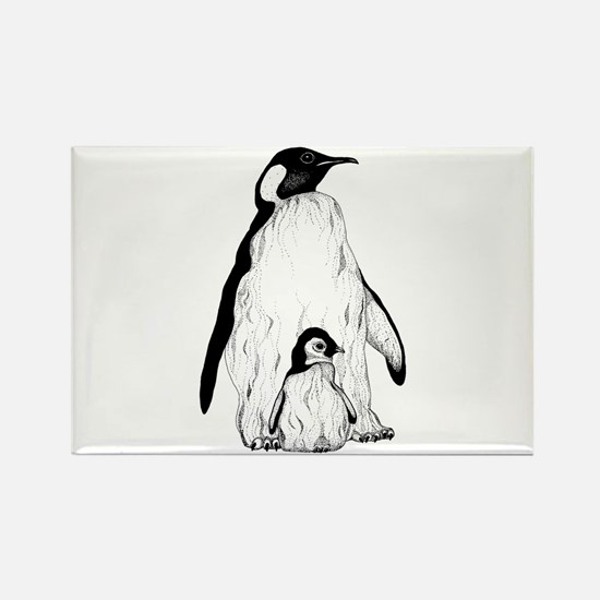 Penguin Parent and Baby Rectangle Magnet