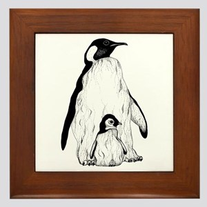 Penguin Parent and Baby Framed Tile