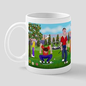 Frustrated golfers cartoon Mug