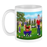 Frustrated golfers cartoon Mug