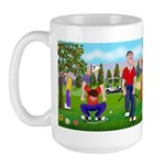 Frustrated golfers cartoon Large Mug