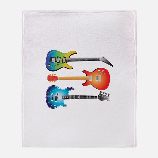 3 Electric Guitars Throw Blanket