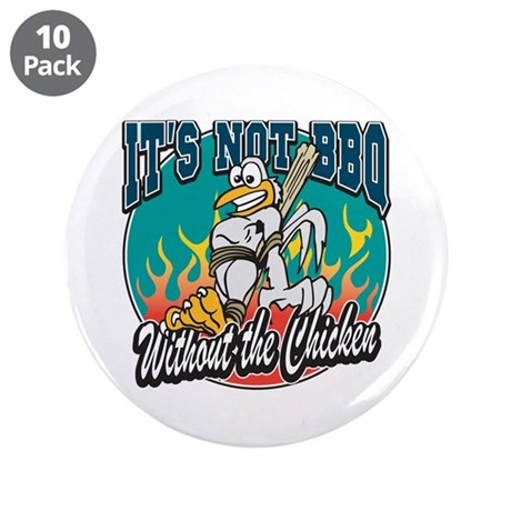 "Chicken BBQ 3.5"" Button (10 pack)"