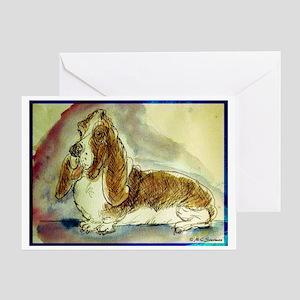 basset hound, fun, dog, Greeting Card