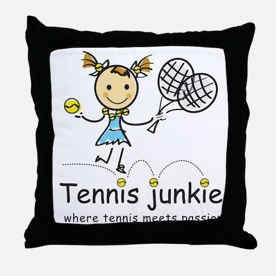 Tennis Junkie Throw Pillow