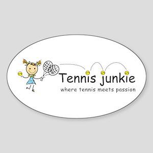 Tennis Junkie Sticker (Oval)