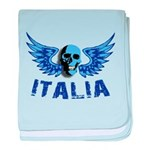 Italy Blue Skull baby blanket