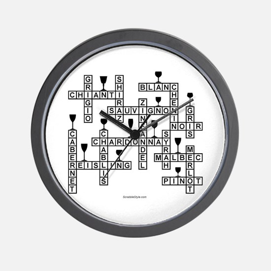 WINE SCRABBLE-STYLE Wall Clock