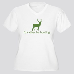 I'd rather be hunting (2) Women's Plus Size V-Neck