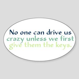 Drive Us Crazy Sticker (Oval)