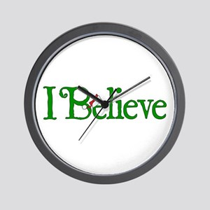 I Believe with Santa Hat Wall Clock