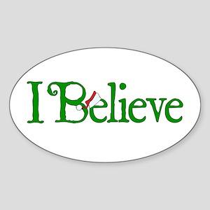 I Believe with Santa Hat Sticker (Oval 10 pk)