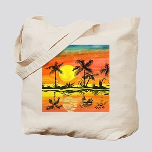 Tropical Beach Sunset Tote Bag