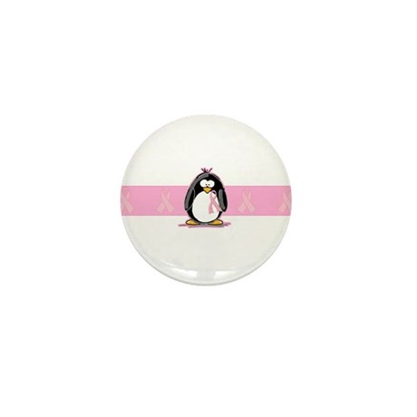 Pink Ribbon Penguin Mini Button (100 pack)