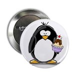 "Ice Cream Sundae Penguin 2.25"" Button (10 pac"