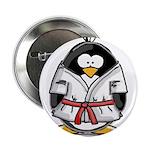 "Martial Arts red belt penguin 2.25"" Button (1"