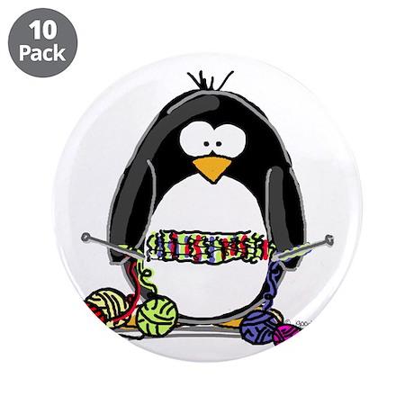 """Knitting Penguin 3.5"""" Button (10 pack)"""