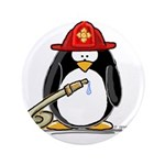 "Fireman penguin 3.5"" Button (100 pack)"