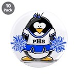 "Blue CheerLeader Penguin 3.5"" Button (10 pack"