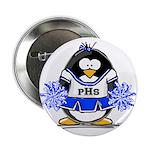 "Blue CheerLeader Penguin 2.25"" Button (100 pa"