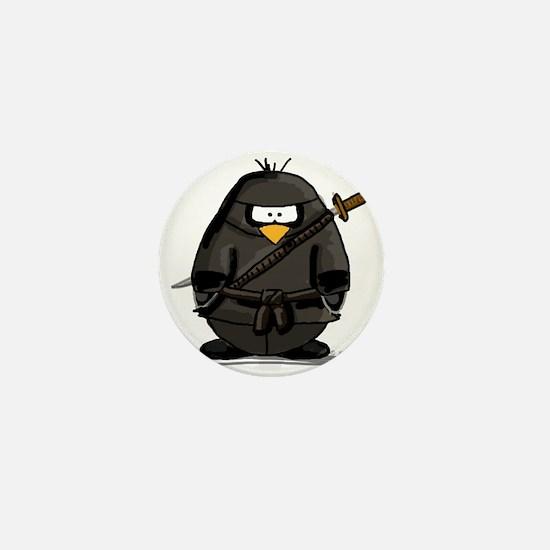 Martial Arts ninja penguin Mini Button (10 pack)
