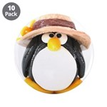 "Sunflower Hat Clay Penguin 3.5"" Button (10 pa"