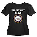 USS BENNETT Women's Plus Size Scoop Neck Dark T-Sh