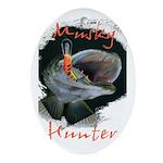 Musky Hunter Ornament (Oval)