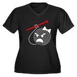 Liv Women's Plus Size V-Neck Dark T-Shirt