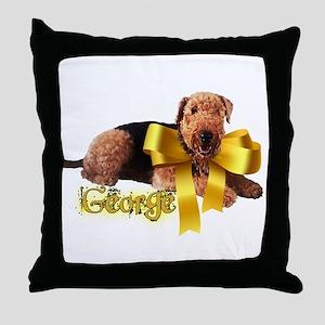 Gold Ribbon George Throw Pillow