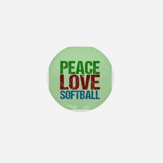 Peace Love Softball Mini Button
